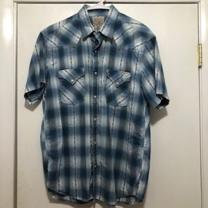 Lucky Brand Mens Large Short Sleeve Pearl Snap